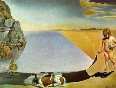 Dalí - Dalí a los seis años cuando creía ser una niña, levantando la piel del agua para ver a un perro que duerme a la sombra del agua (1950)
