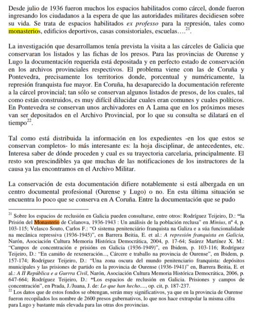 Recopilados en Ourense nombres de 2600 presos
