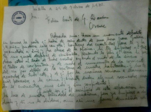 Carta de Francisco a Felisa