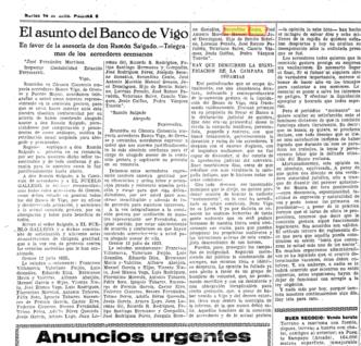 El asunto del Banco de Vigo